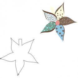 עיצוב כרטיס בצורת פרח עם צבעים רבים ומגוון טקסטורות