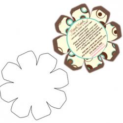 עיצוב כרטיס בצורת פרח אופי\וייט עם דוגמאות חומות ותכלת